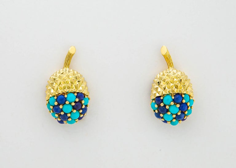 Contemporary Tiffany & Co. Turquoise and Lapis Acorn Earrings For Sale