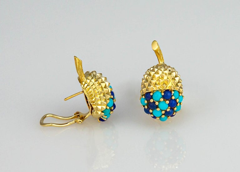 Cabochon Tiffany & Co. Turquoise and Lapis Acorn Earrings For Sale