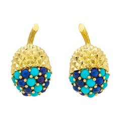 Tiffany & Co. Turquoise and Lapis Acorn Earrings