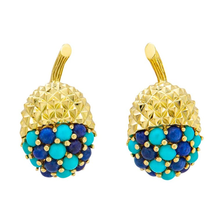Tiffany & Co. Turquoise and Lapis Acorn Earrings For Sale