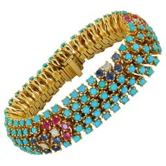 Tiffany & Co. Turquoise Bead, Sapphire, Diamond and Ruby Bracelet