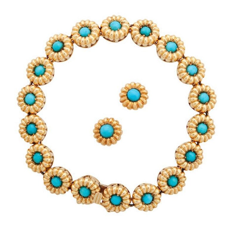 Tiffany & Co. Turquoise Cabochon Daisy with Bracelet and Earrings For Sale