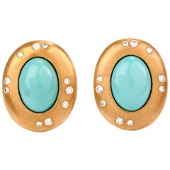Tiffany & Co. Turquoise Diamond 18 Karat Yellow Gold Clip-On Earrings