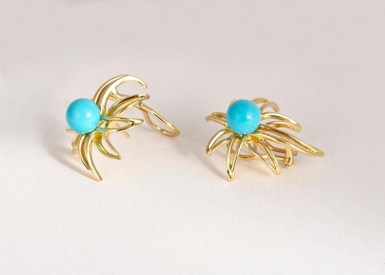 Tiffany & Co. Turquoise Fireworks Earrings In Excellent Condition For Sale In Atlanta, GA