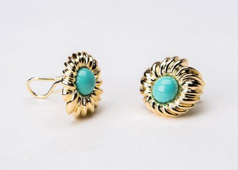 Contemporary Tiffany & Co. Turquoise Gold Earrings For Sale