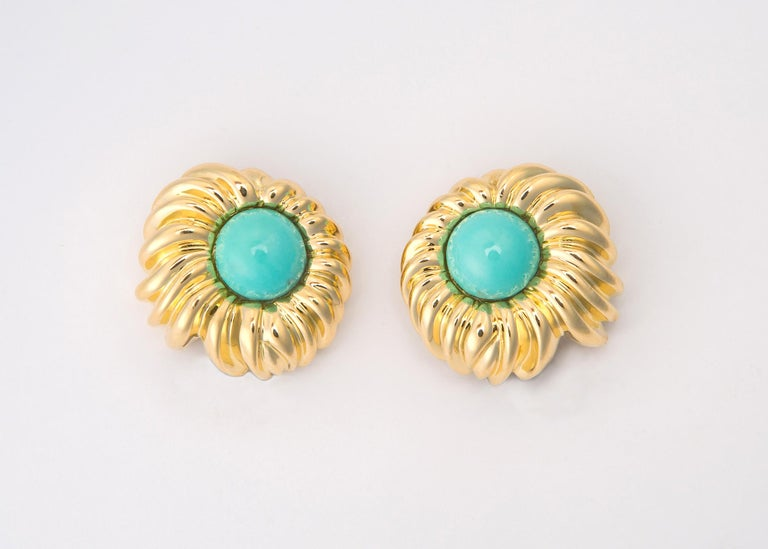 Tiffany & Co. Turquoise Gold Earrings In Excellent Condition For Sale In Atlanta, GA