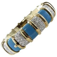 Tiffany & Co. Turquoise Paillone Enamel and Diamond Schlumberger Bracelet