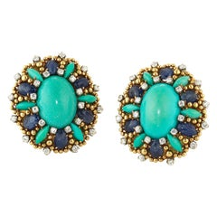 Tiffany & Co. Turquoise Sapphire and Diamond Yellow Gold Earrings