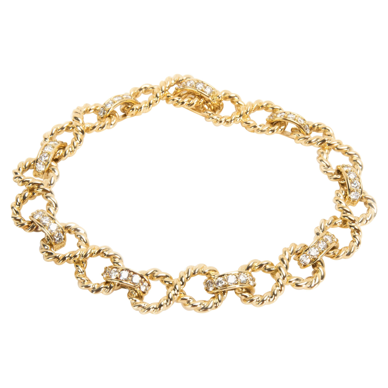 Tiffany & Co. Twisted Rope Infinity Diamond Bracelet in 18 Karat Gold 2.20 Carat