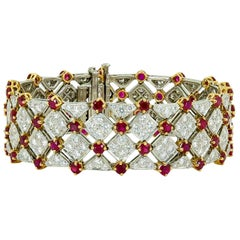 Tiffany & Co. Diamond Ruby Yellow Gold Platinum Tennis Bracelet