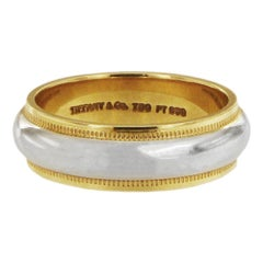 Tiffany & Co. Two-Tone Gold and Platinum Milgrain Band Ring