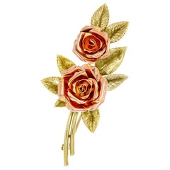 Tiffany & Co. Two-Tone Gold Rose Brooch