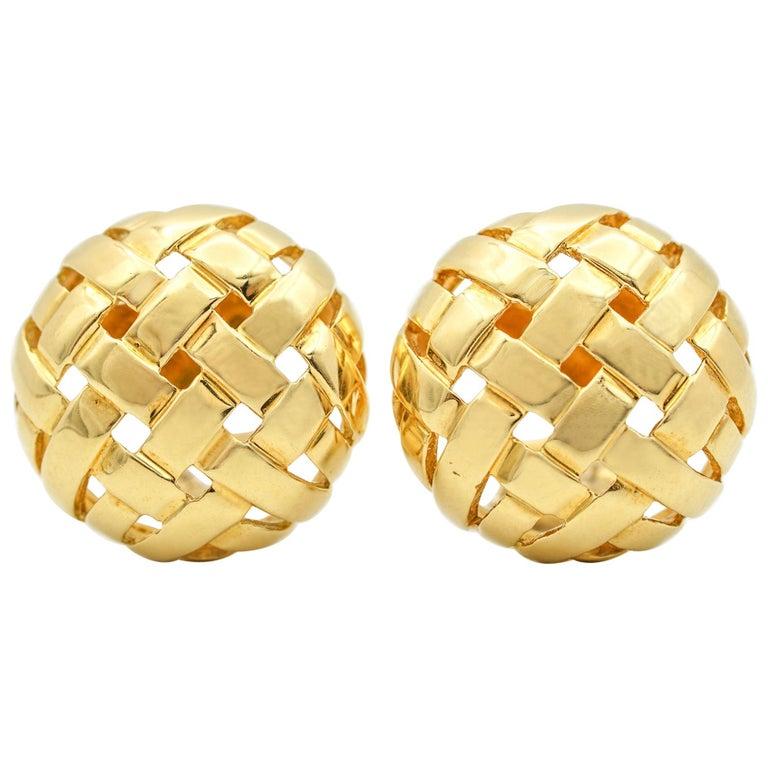 Tiffany & Co. Vannerie Basket Weave Button Ear Clips For Sale