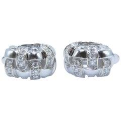 Tiffany & Co. Vannerie Basket Weave Diamond Earrings 18 Karat White Gold