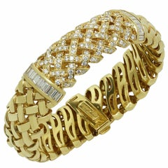 Tiffany & Co. Vannerie Diamond Yellow Gold Bracelet