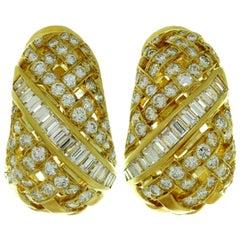 Tiffany & Co. Vannerie Diamond Yellow Gold Earrings