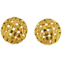 Tiffany & Co. Vannerie Round Clip-On Gold Earrings