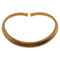 Tiffany & Co. Vannerie Torque Basket Weave 18 Karat Gold Choker Necklace