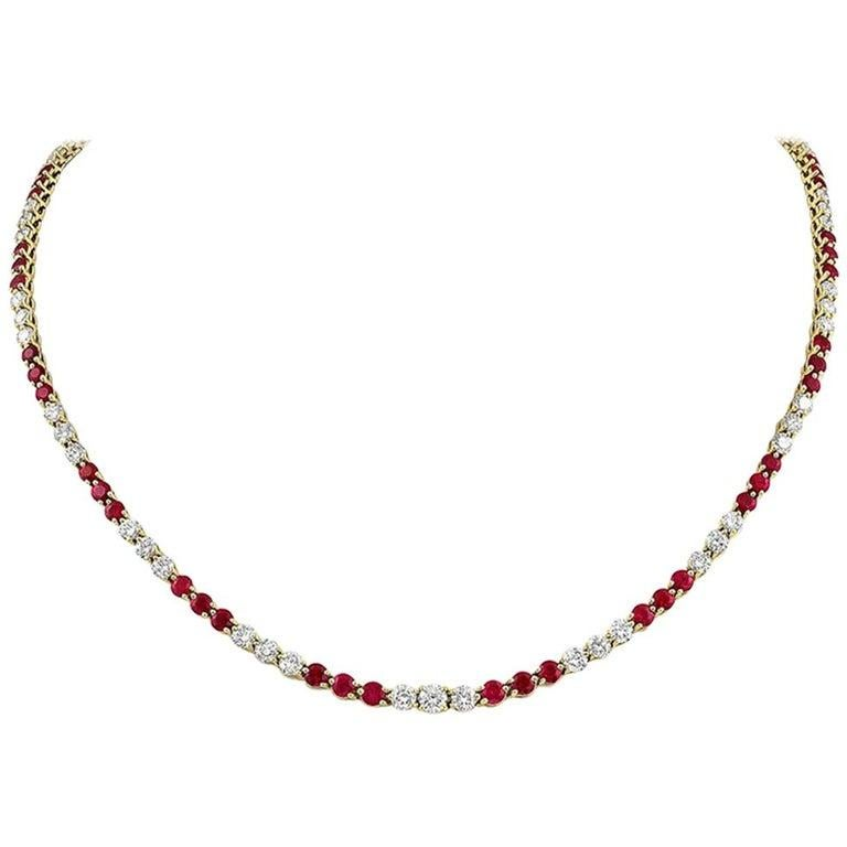 Modernist Tiffany & Co. Victoria Collection Ruby and Line Diamond Necklace For Sale