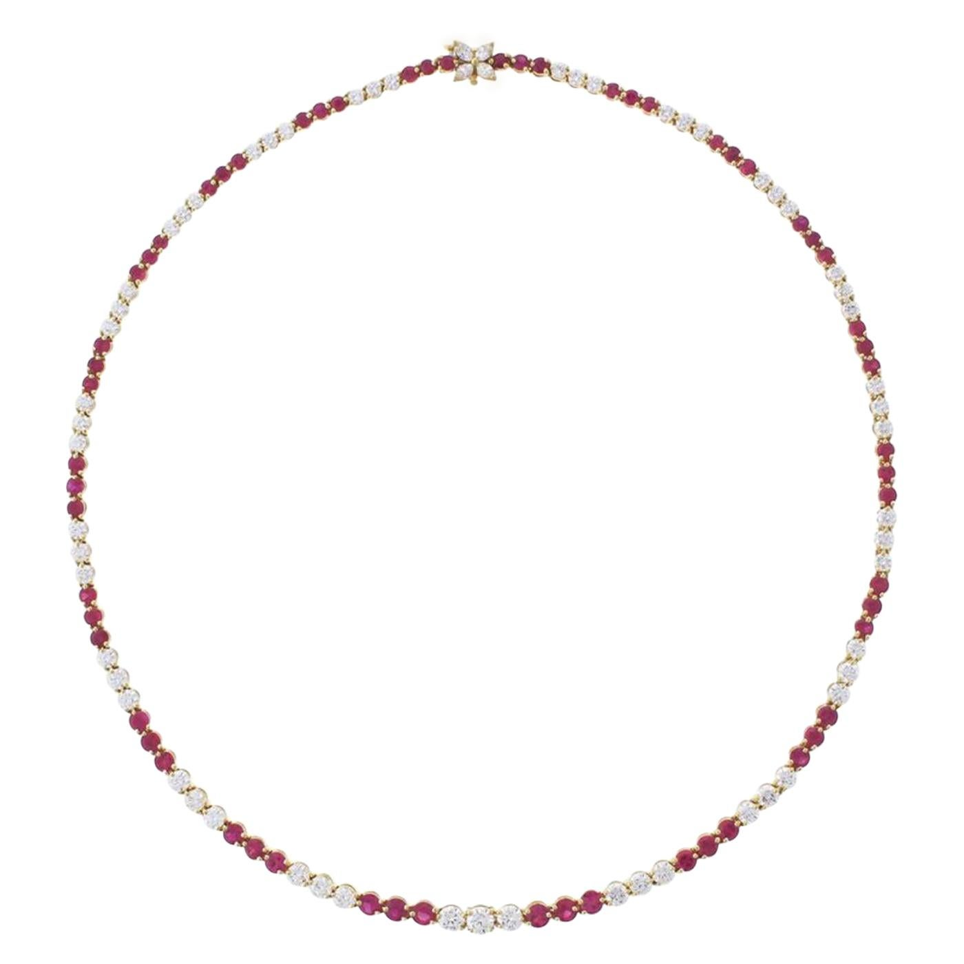 Tiffany & Co. Victoria Collection Ruby and Line Diamond Necklace