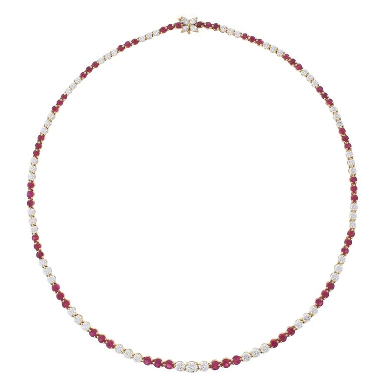 Tiffany & Co. Victoria Collection Ruby and Line Diamond Necklace For Sale