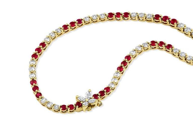 Brilliant Cut Tiffany & Co. Victoria Collection Ruby Diamond Necklace For Sale