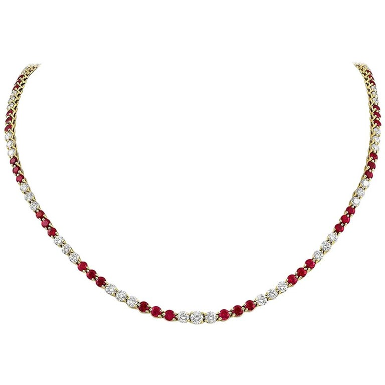 Tiffany & Co. Victoria Collection Ruby Diamond Necklace For Sale