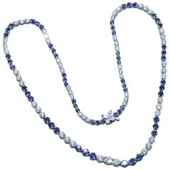 Tiffany & Co. Victoria Diamond and Sapphire Necklace 11.68 TCW Platinum