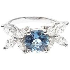 Tiffany & Co. Victoria Diamond Aquamarine Platinum Band Ring