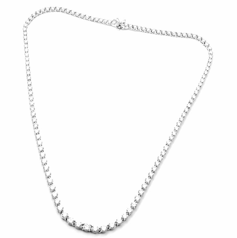 Tiffany & Co. Victoria Diamond Graduated Line Platinum Necklace In Excellent Condition For Sale In Holland, PA