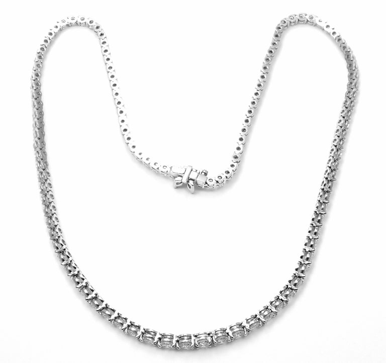 Women's or Men's Tiffany & Co. Victoria Diamond Graduated Line Platinum Necklace For Sale