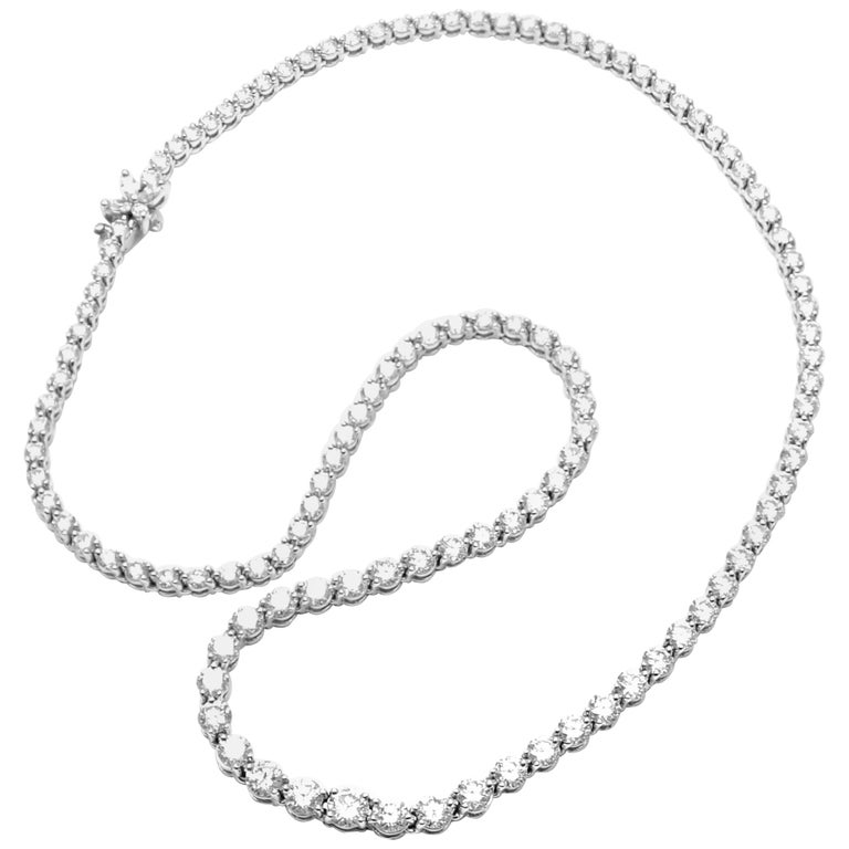 Tiffany & Co. Victoria Diamond Graduated Line Platinum Necklace For Sale