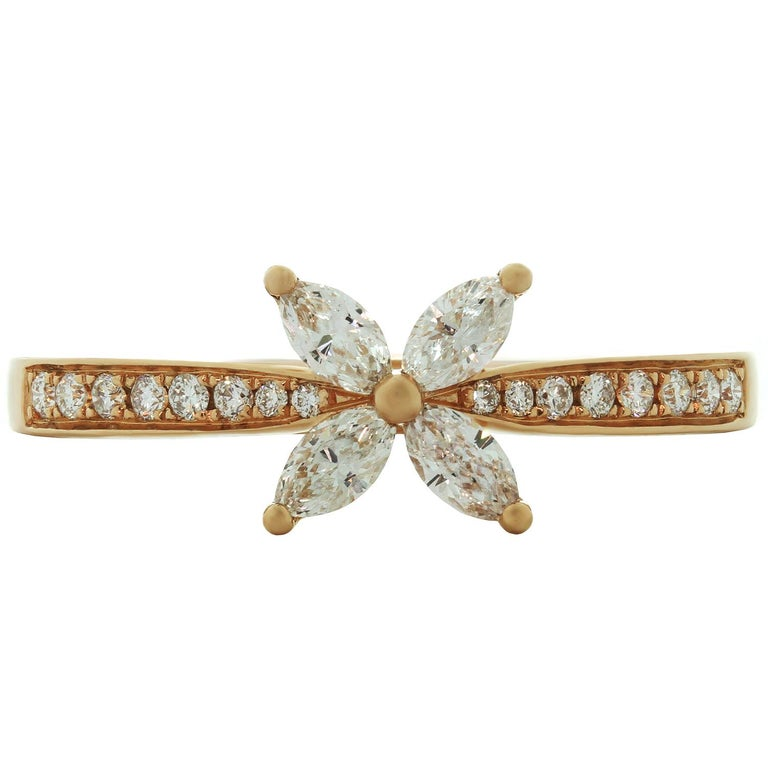 Tiffany & Co. Victoria Diamond Rose Gold Ring In Excellent Condition For Sale In New York, NY