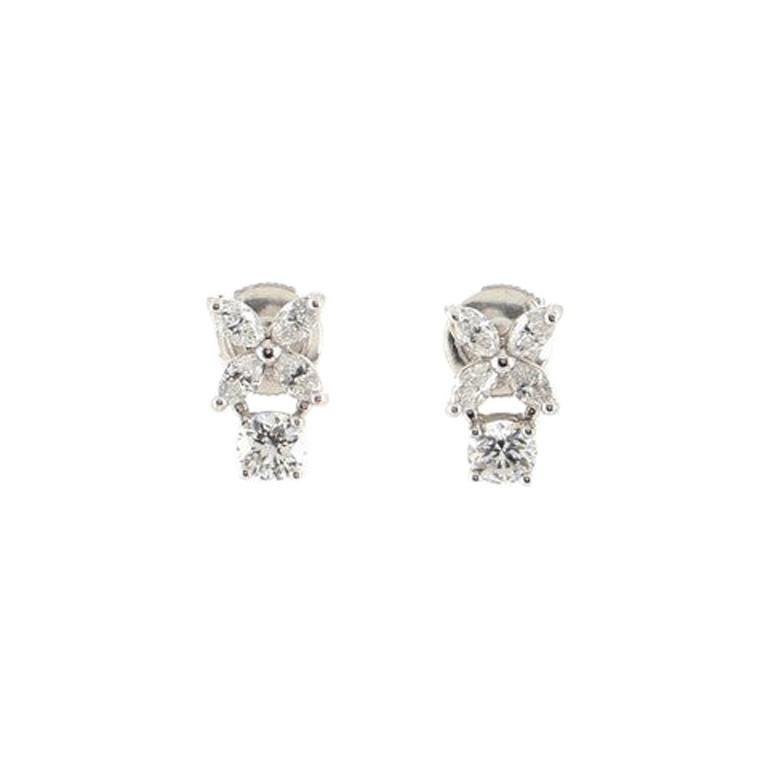 Tiffany & Co. Victoria Drop Earrings Platinum with Diamonds