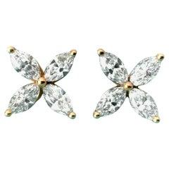 Tiffany & Co. Victoria Medium .92 Carat 18 Karat Gold and Diamond Earrings 2018