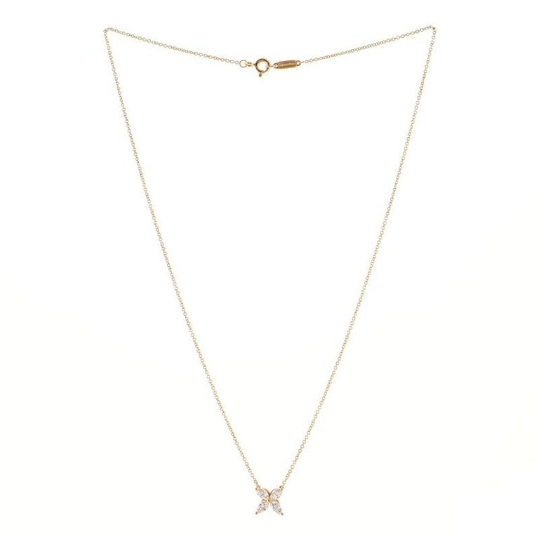 Round Cut Tiffany & Co. Victoria Pendant Necklace 18K Rose Gold with Diamonds Medium For Sale