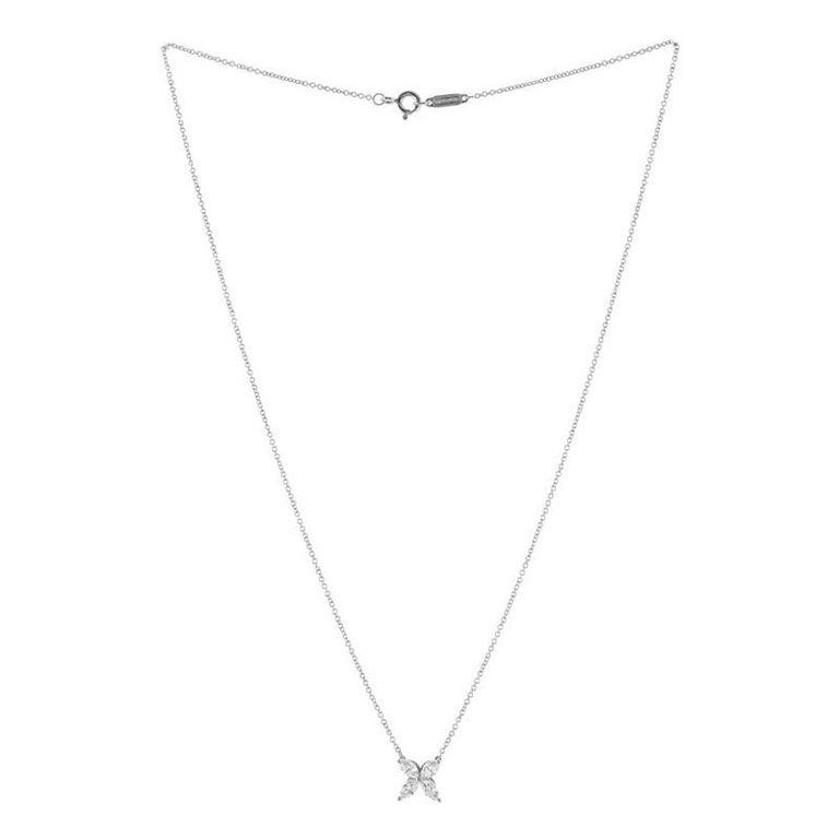 Round Cut Tiffany & Co. Victoria Pendant Necklace Platinum with Diamonds Medium For Sale