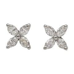 Tiffany & Co. 'Victoria' Platinum Diamond Earrings, Size Mini