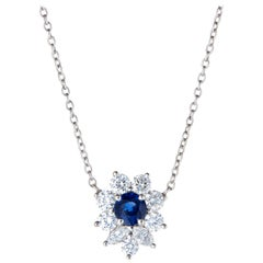 Tiffany & Co. Victoria Sapphire Diamond Necklace Platinum Estate Fine Jewelry