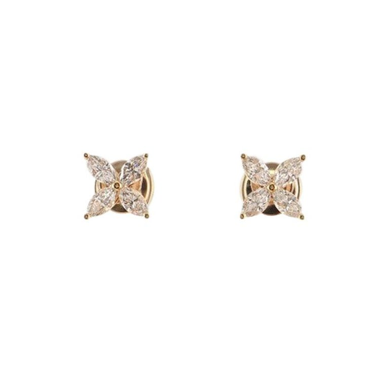 Tiffany & Co. Victoria Stud Earrings 18k Rose Gold with Diamonds Medium For Sale