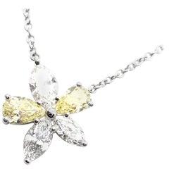 Tiffany & Co. Victoria gelbe und weiße Diamanten Platin Anhänger Halskette