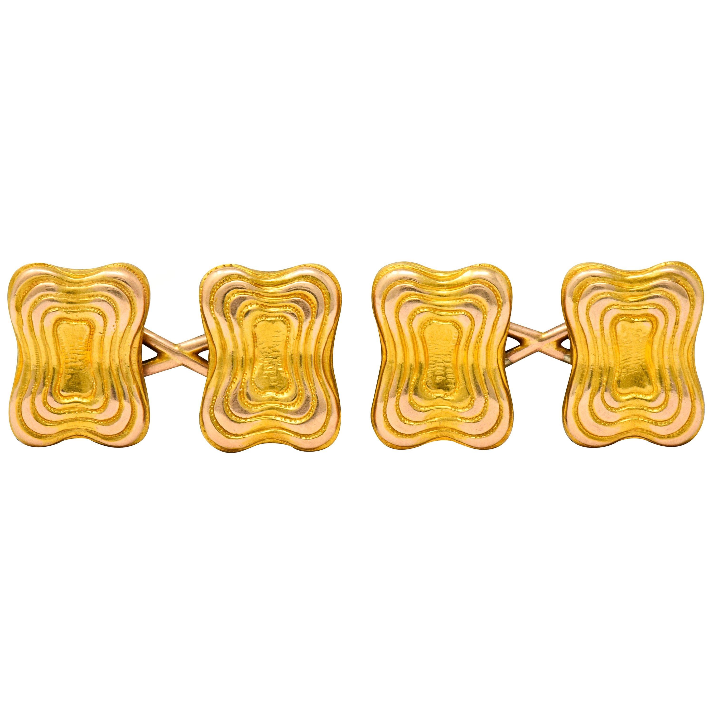 Tiffany & Co. Victorian 18 Karat Yellow Gold Men's Cufflinks, circa 1950