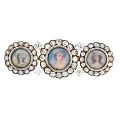 Tiffany & Co. Victorian 1.95 Carat Diamond 14 Karat Gold Silver Painted Brooch