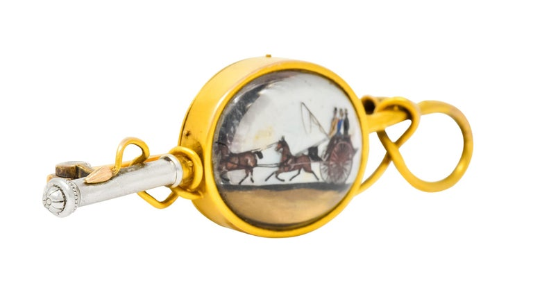 Tiffany & Co. Victorian Painted Crystal Platinum 18 Karat Gold Equestrian Brooch In Excellent Condition For Sale In Philadelphia, PA