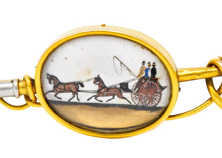 Tiffany & Co. Victorian Painted Crystal Platinum 18 Karat Gold Equestrian Brooch For Sale 1