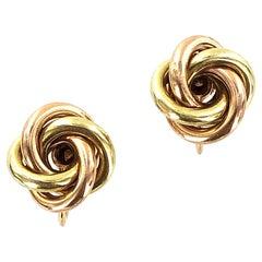 Tiffany & Co. Vintage 14 Karat Two-Tone Gold Knot Clip Earrings