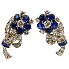 Tiffany & Co. Vintage 14 Karat White Gold Sapphire and Diamond Floral Earrings