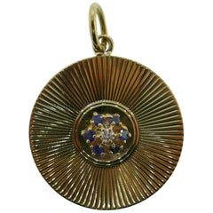 Tiffany & Co. Vintage 14 Karat Yellow Gold, Diamond and Sapphire Disc Pendant