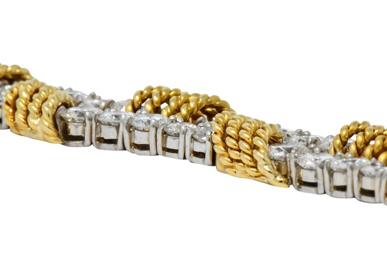 Round Cut Tiffany & Co. Vintage 14.00 Carat Diamond 18 Karat Gold Platinum Bracelet For Sale