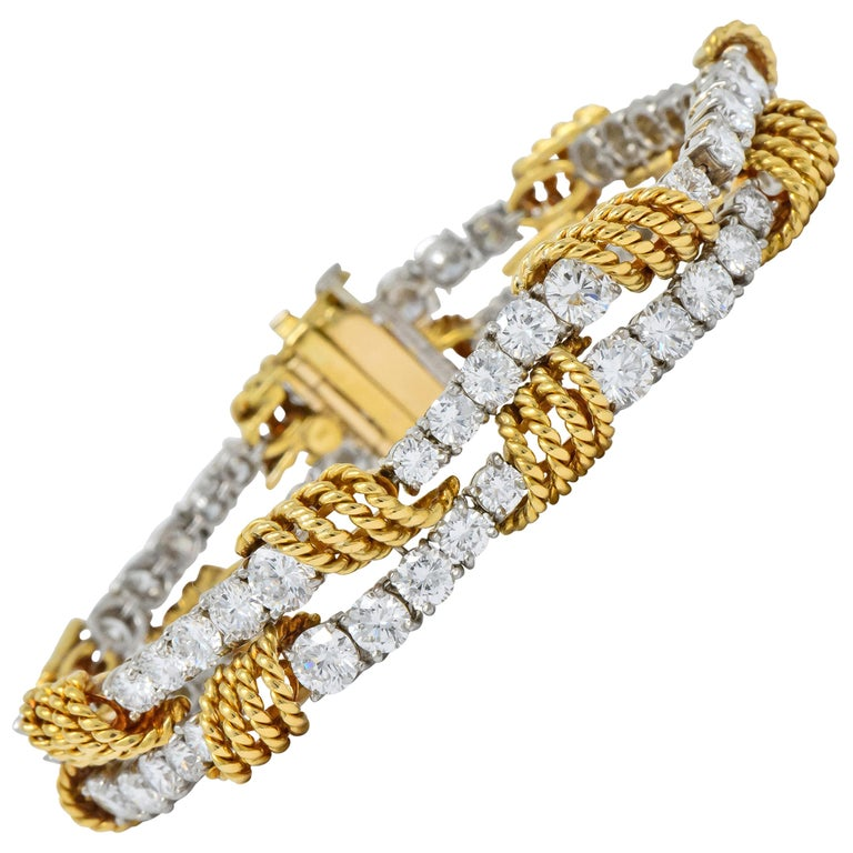 Tiffany & Co. Vintage 14.00 Carat Diamond 18 Karat Gold Platinum Bracelet For Sale